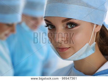 Female Surgeon Portrait Looking In Camera