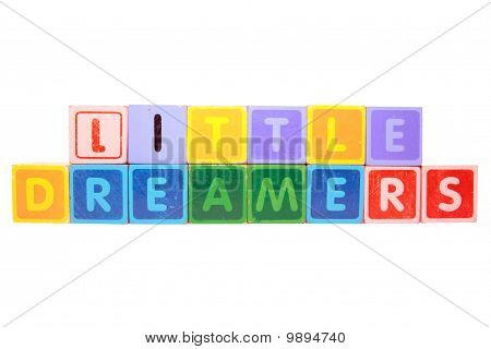 Little Dreamers In Blocks On White
