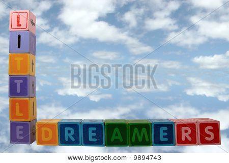 Little Dreamers On Blocks In Clouds