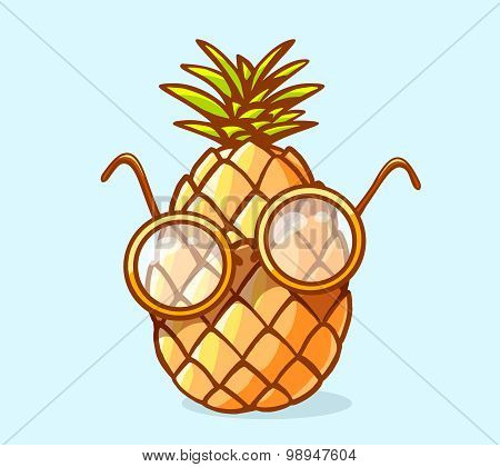 Vector Illustration Of Colorful Nerd Pineapple With Glasses On Blue Background.