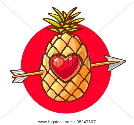 Vector Illustration Of Colorful Pineapple With Heart And Arrow On White Background.