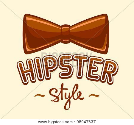Vector Illustration Of Brown Bow Tie And Lettering Hipster Style On Yellow Background.