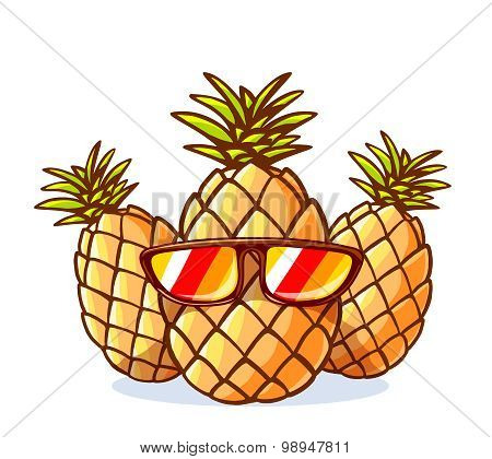 Vector Illustration Of Colorful Yellow Hipster Pineapples With Sunglasses On White Background.