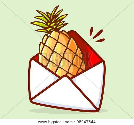 Vector Illustration Of Colorful Yellow Pineapple In White Envelope On Green Background.