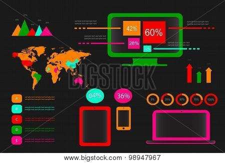 Infographic Vector Elements Neon
