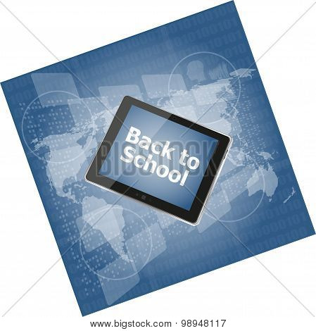 Tablet Pc Set With Back To School Word On It, Education Concept