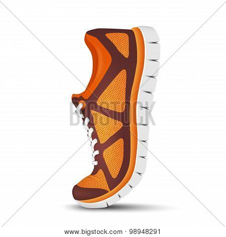 Realistic Bright Curved Sport Shoes For Running. Vector Illustration