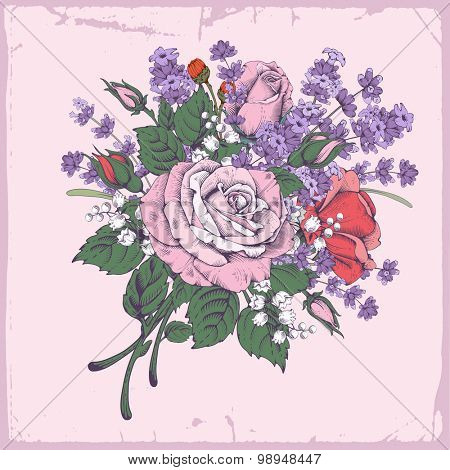 Vintage luxury greeting card with detailed hand drawn flowers - blooming rose and lavender. Background in retro engraving style with space for your text. Vector. Easy to edit.
