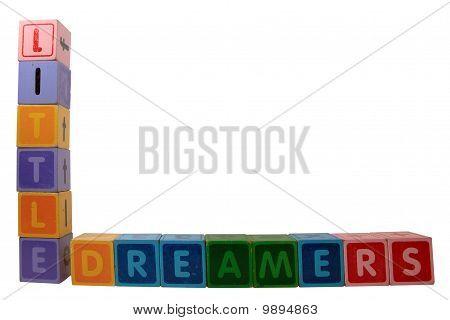 Little Dreamers On Toy Letter Blocks On White