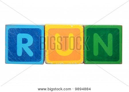 Run In Toy Block Letters