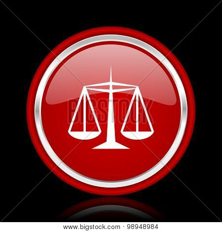 justice red glossy web icon chrome design on black background with reflection