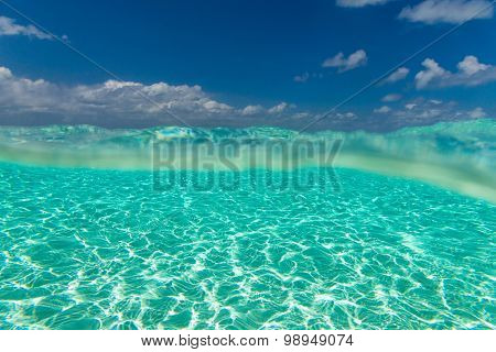 sea Maldives with few palm trees and blue lagoon