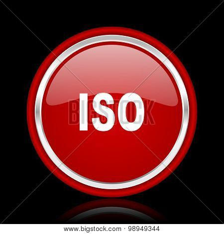 iso red glossy web icon chrome design on black background with reflection