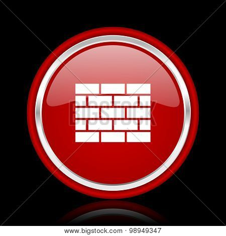 firewall red glossy web icon chrome design on black background with reflection