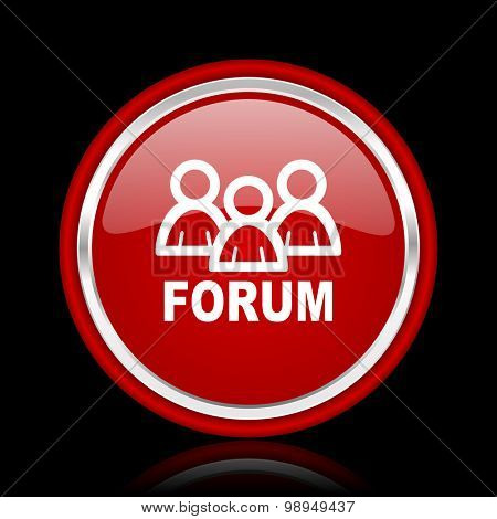 forum red glossy web icon chrome design on black background with reflection