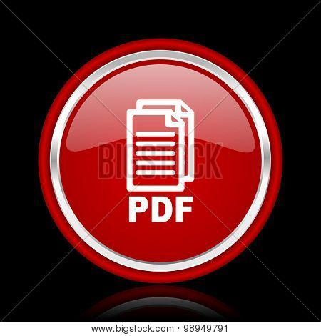pdf red glossy web icon, chrome design on black background with reflection