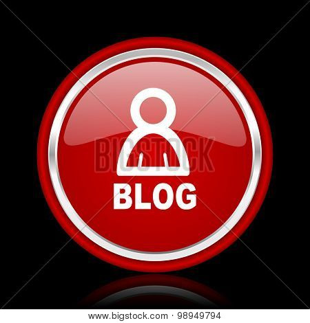 blog red glossy web icon chrome design on black background with reflection