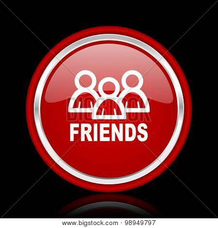 friends red glossy web icon chrome design on black background with reflection