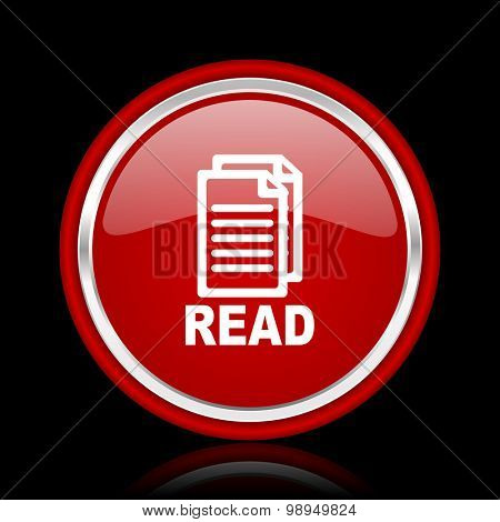 read red glossy web icon chrome design on black background with reflection
