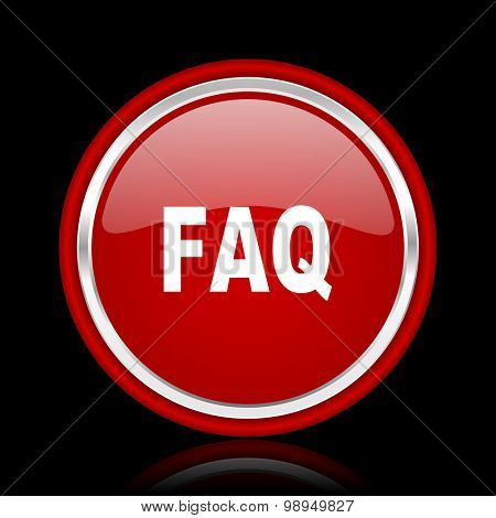 faq red glossy web icon chrome design on black background with reflection
