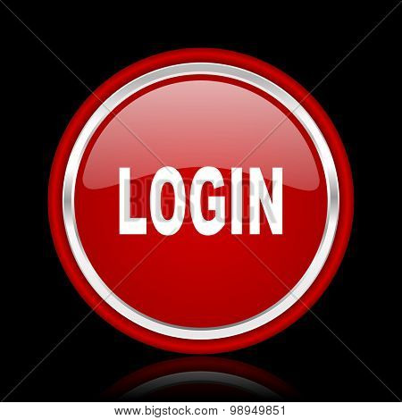 login red glossy web icon chrome design on black background with reflection