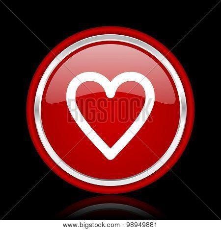 heart red glossy web icon chrome design on black background with reflection