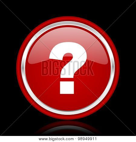 question mark red glossy web icon chrome design on black background with reflection