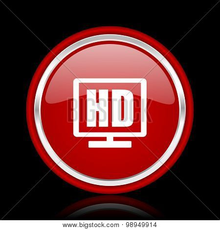 hd display red glossy web icon chrome design on black background with reflection