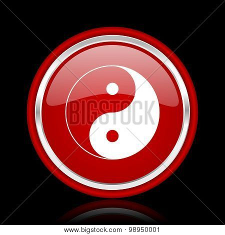 ying yang red glossy web icon chrome design on black background with reflection