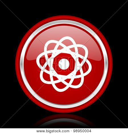 atom red glossy web icon chrome design on black background with reflection