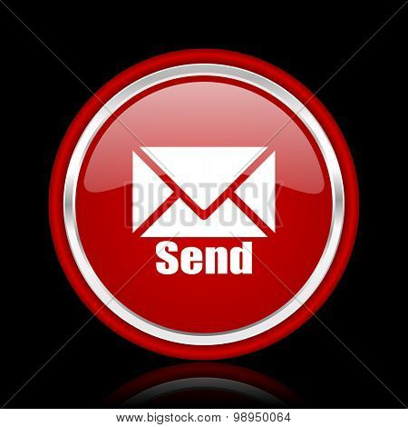 send red glossy web icon chrome design on black background with reflection