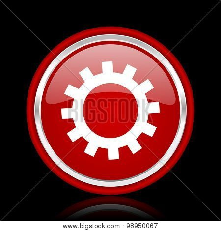 gear red glossy web icon chrome design on black background with reflection