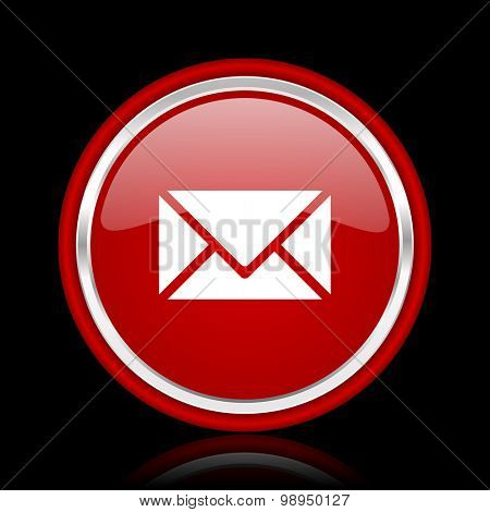 email red glossy web icon chrome design on black background with reflection