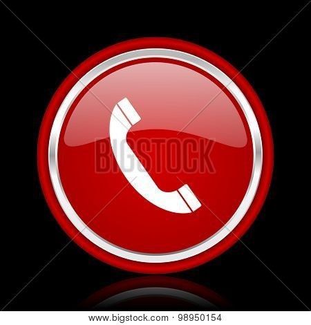 phone red glossy web icon chrome design on black background with reflection