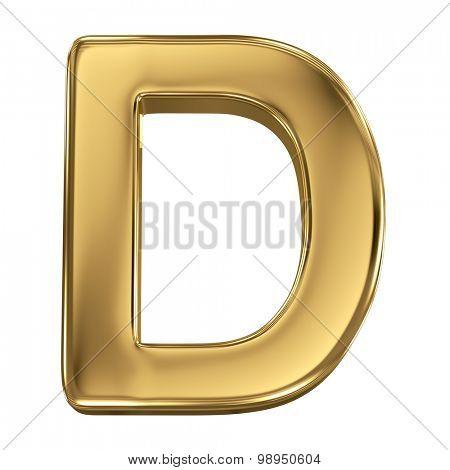 Golden shining metallic 3D symbol letter D - isolated on white