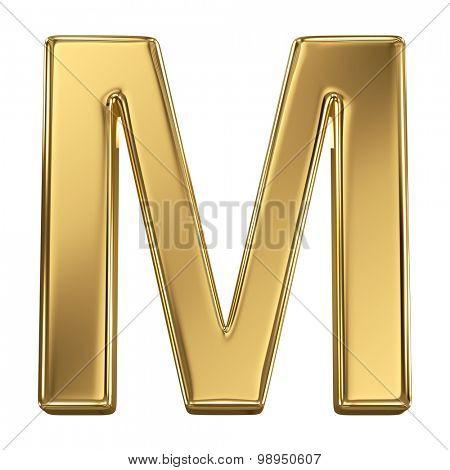 Golden shining metallic 3D symbol letter M - isolated on white