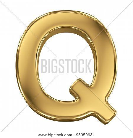 Golden shining metallic 3D symbol letter Q - isolated on white