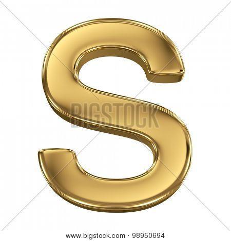 Golden shining metallic 3D symbol letter S - isolated on white