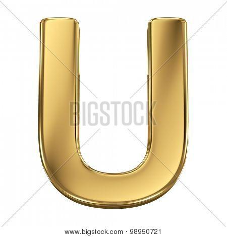 Golden shining metallic 3D symbol letter U - isolated on white