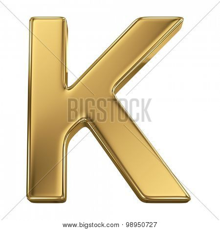 Golden shining metallic 3D symbol letter K - isolated on white