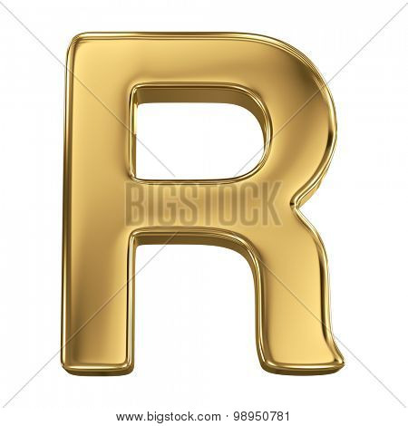 Golden shining metallic 3D symbol letter R - isolated on white