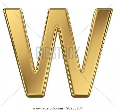 Golden shining metallic 3D symbol letter W - isolated on white