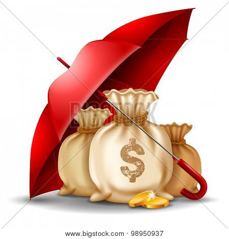 Bags of money and golden coins under the red umbrella. Concept of money protect. Vector illustration. Isolated on white background.