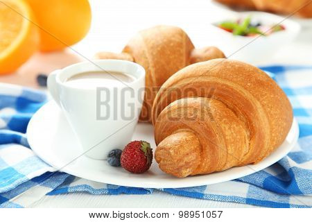 Fresh tasty croissants