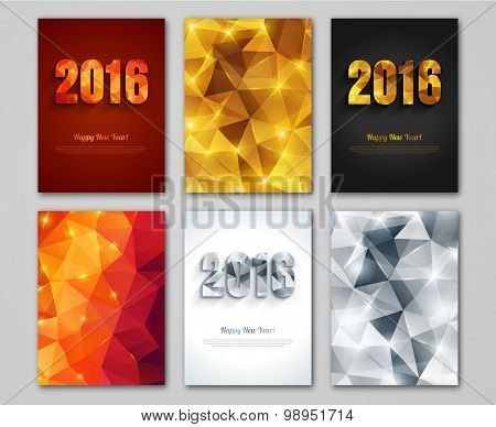 Happy New Year 2016 golden, silver and red greeting cards