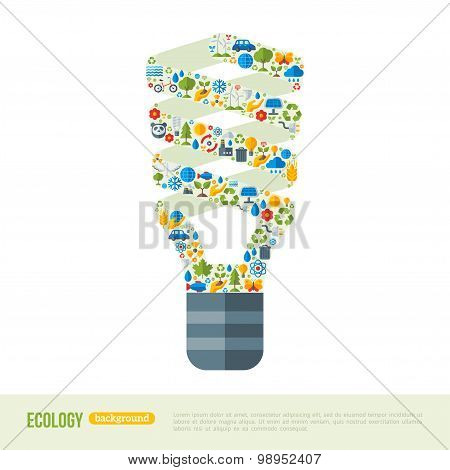 Energy-saving Light Bulb with ecology Icons Pattern.