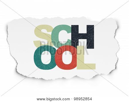 Education concept: School on Torn Paper background
