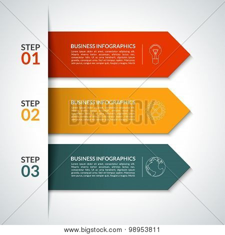 Arrow infographic design template. 3 steps. Minimal style. Vector background