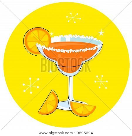 Orange Margarita: Retro cocktail icon isolated on yellow background