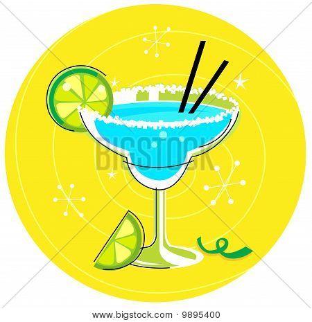 Blue Margarita: Retro cocktail icon on yellow background